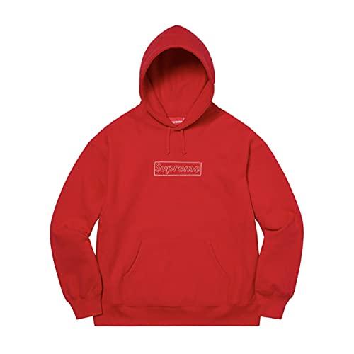 Supreme パーカー メンズ スウェット 長袖 おしゃれ KAWS Chalk Logo Hooded Sweatshirt SS21 赤/M