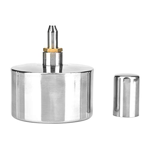 Fafeicy 400 ml Lámpara de alcohol, quemador de alcohol espesado de acero inoxidable plateado, con tornillo de cobre fino y mecha