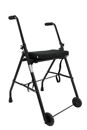 KMINA - Andador para ancianos, Andador plegable y ligero, Andadores para ancianos, Andadores adultos 2 ruedas, Andador para ancianos con asiento, COMFORT 2 Ruedas Negro