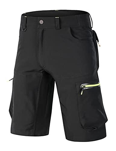 Bestgift Los hombres de verano de secado rápido pantalones flojo elástico transpirable al aire libre ciclismo pantalones para hombre de montaña ciclismo pantalones cortos para hombre, Negro, 3XL