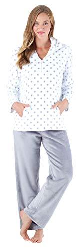 Sleepyheads Women's Sleepwear 1/4 Zip Fleece 2-Piece Loungewear Pullover Pajama PJ Set with Pockets White Polka Dots (SH1143-4066-XL)