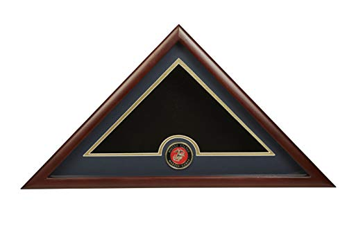 Allied Frame US Marine Corps Interment American Burial Flag Display Case with Official Marine Corps Medallion