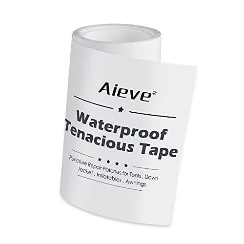 AIEVE Tent Repair Tape,Waterproof Tenacious Tape, Clear Airbed Repair kit, Puncture Repair Patches for Tents, Awnings, Down Jacket, Inflatable Swimming Pools, Kayak(7.5cm x 100cm)