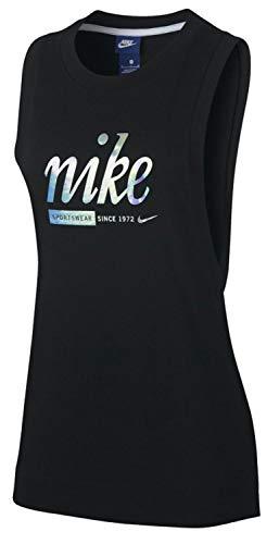 Nike W NSW Metallic, Canotta Sportiva Donna, Nero, S