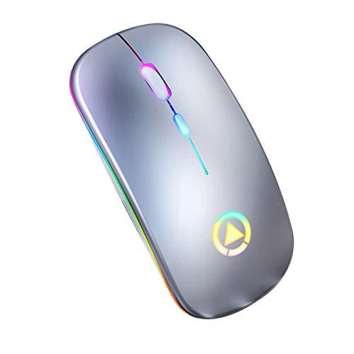 Ratón inalámbrico con receptor USB recargable, 2,4 GHz, 1600 DPI, luz LED multicolor, función de sueño inteligente, sensación metálica mate (gris)