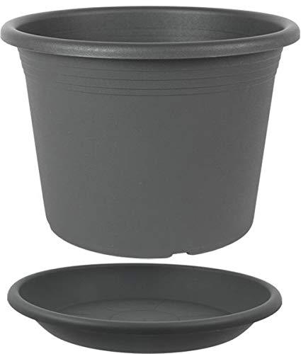 MePla Set 2-TLG. aus Blumentopf Pflanzkübel Cilindro rund Durchmesser 35 cm und Untersetzer rund ø34 cm, Anthrazit, wetterfest aus UV-beständigem Kunststoff