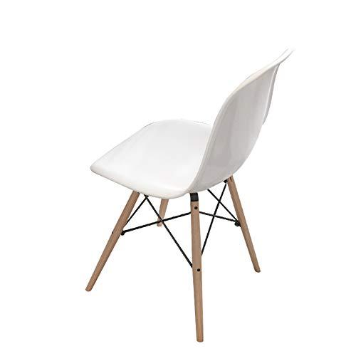 BAR STOOL Silla de Estilo de Madera de diseño Vintage Office Lounge Comedor Cocina - Blanco (1)