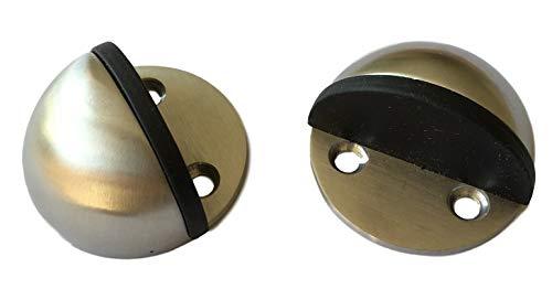 2x deurstopper zelfklevend roestvrij staal - ideaal voor vloermontage - houdt ook zonder boren & zonder schroeven incl. 4x kleefpads