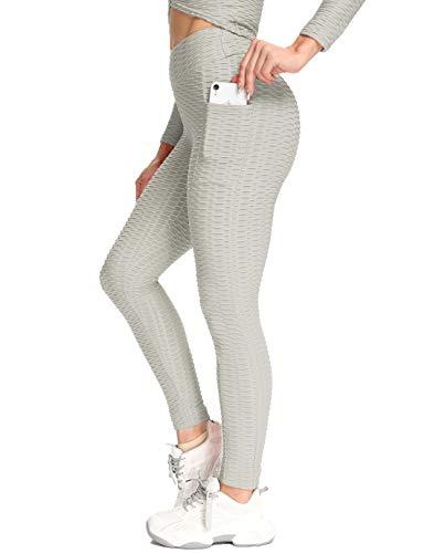 SHAPERIN Anti-Cellulite Kompressionshose Damen Yoga Sport leggings mit Tasche Hohe Taille Jogginghose Honeycomb geraffte Leggins für Training Butt Lift Fitness Hose Sport Tights(Grau,S)