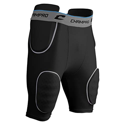 CHAMPRO Formation 5-Pad Integrated Football Girdle, Black, Grey, FPGU18, Adult Large