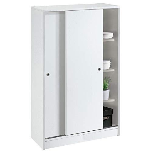 Pitarch Armario Turin1 - con 2 Puertas Correderas - Color Blanco Alto Brillo