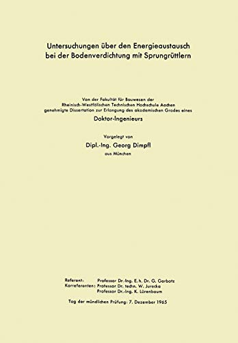 Untersuchungen über den Energieaustausch bei der Bodenverdichtung mit Sprungrüttlern (German Edition)