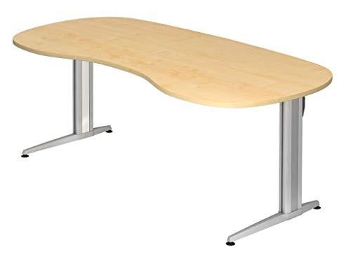 Froschkönig24 Cockpit-Schreibtisch 16592 Schreibtisch Nierentisch Tisch Bürotisch 200x100cm, Dekor:Ahorn, Blende:Seitenblenden Set