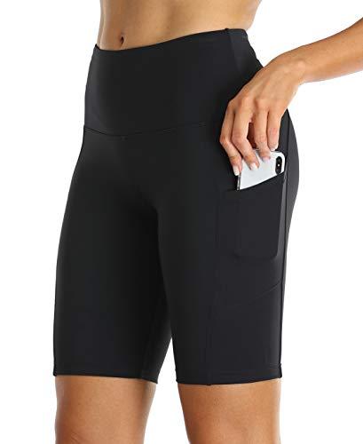Oalka Women's Short Yoga Side Pockets High Waist Workout Running Shorts Easy Black X-Large