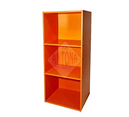 Libreria Colorata Componibile Modulare Legno MDF Laminato Mobile Scaffale (Arancio)