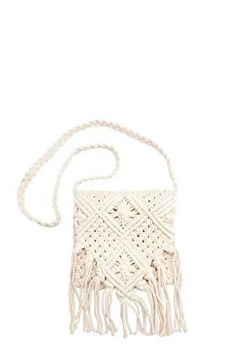 s.Oliver RED LABEL Damen Makramee-Tasche mit Fransen off-white 1