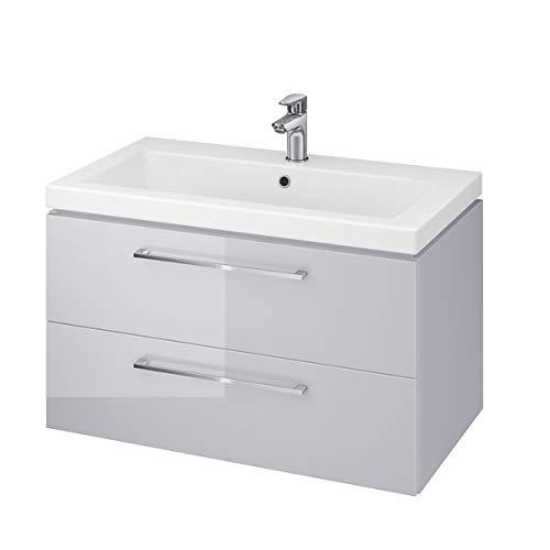 VBChome Waschplatz Waschtischunterschrank Hochglanz Oberfläche Unterschrank 2 Schubladen,Badezimmermöbel für Gästebad WC Badezimmer