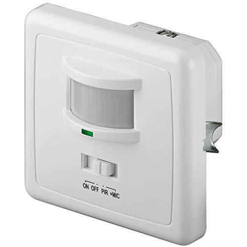 goobay 95171 PIR Infrarot / Akustischer Bewegungsmelder Innen – Klatschsensor – Unterputz Montage – 160° Erfassungsbereich – Reichweite 9m – LED geeignet – Weiß