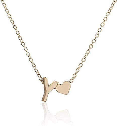 huangxuanchen co.,ltd Collar Cadena Collar para Mujer Letra Y Corazón Colgante Collar Simple Joyas