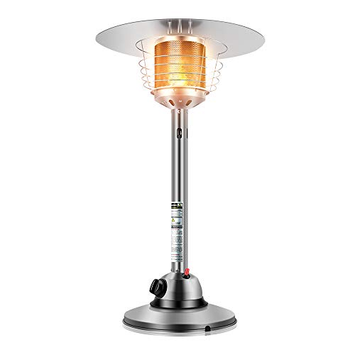 Anbull Heizstrahler terrasse gas, Tisch Heizstrahler gas 4.5kW, Heizpilz gas Mini Reiner Edelstahl, Heizbereich 15㎡, Gewicht: 8,5 kg