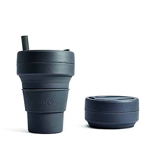 Stojo On The Go faltbarer Kaffeebecher | Zusammenfaltbarer Silikon-Reisebecher – Biggie 473 ml Carbon