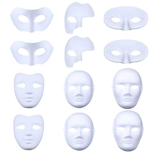 Bageek Weiße Maske, 12Pcs Halloween Maske DIY Zellstoff Blank Handgemalte Maske Halloween Karneval Cosplay Party Kostüm für Kinder Frauen Männer