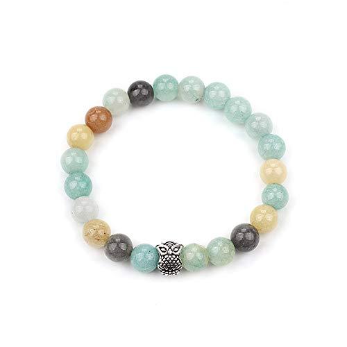 KKMAOMAO Chakra Natural Bracelet,Handmade Jewelry 7 Colorful Chakra Natural Owl Accessories Stone Beads Yoga Bangle Bracelet For Women