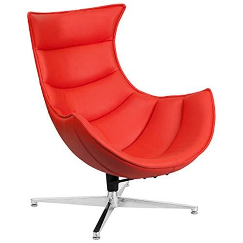 Zakjj Ledersessel Drehbarer Loungesessel - Italienisches Top Grain Leder Mit Titan Edelstahl Modernes Italienisches Leder Top Grain Swivel,Red