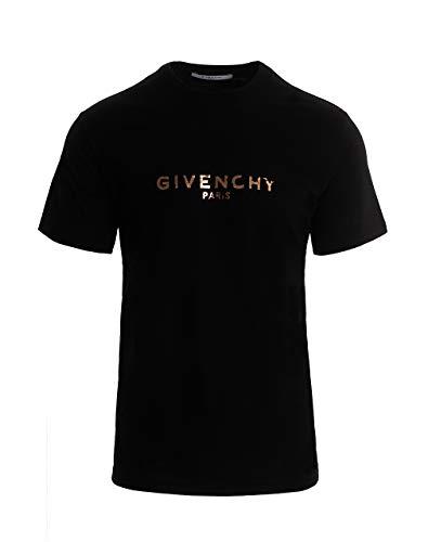 Givenchy T-Shirt Uomo Nero Logo Vintage Oro (XXL)