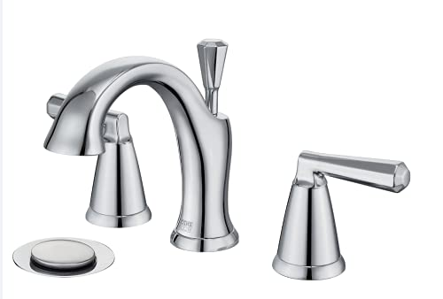 8 inch Polished Chrome Bathroom Faucet Widespread,Two-Handle Lavatory Sink Faucet for 3-Holes Wide...