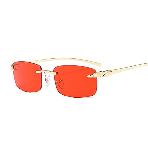 Hanpiyignstyj Gafas De Sol, Gafas de Sol cuadradas Negras Retro Rectángulo de Mujer Rectángulo de Sol Gafas de Sol Espejo de Metal sin Marco (Color : Red)