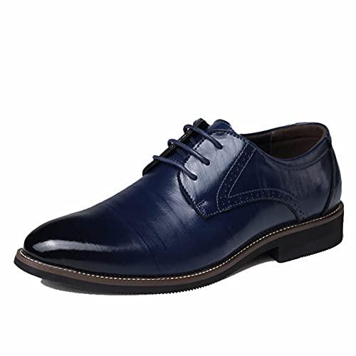 Zapatos de Negocios para Hombre cómodos Ligeros Puntiagudos de Cuero con Cordones...