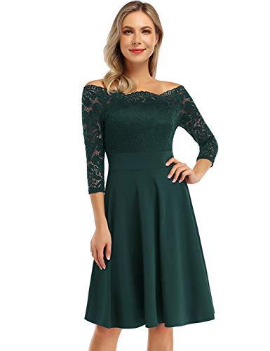 KOJOOIN Damen 1950er Vintage Brautjungfernkleider für Hochzeit Kurzes A-Linie Abendkleider, Dunkelgrün (Off Schulter)-langarm, Gr.- L/42-44