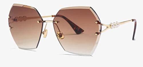 Yhui Pearl randloze zonnebril vrouwen vrouwelijke Crystal vierkante bril retro zonnebril mannen Gradient Grijze brillen