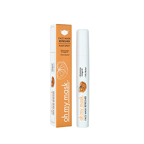 Maskenspray für Mundschutz – ätherische Öle zum Durchatmen und Auffrischen von Gesichtsmasken – Mit 70% Alkohol – Orangenöl für eine angenehme Frische – Spray Duft für Masken