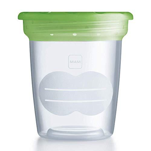 MAM Aufbewahrungsbecher für Muttermilch und Babynahrung, Behälter kompatibel mit MAM Handmilchpumpe, ideal zur Lagerung in Kühlschrank und Gefriertruhe, 5 Stück