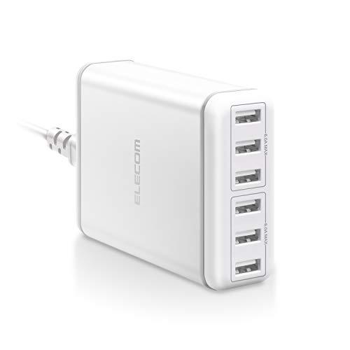 エレコム USB コンセント 充電器 合計60W Aポート×6 【 iPhone / Android / タブレット 対応 】 ホワイト EC-ACD01WH