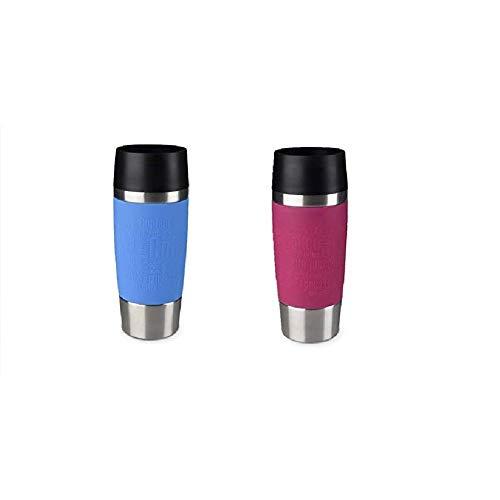 Emsa Standard-Design Travel Mugs, hellblau/himbeer, 2 x 360ml