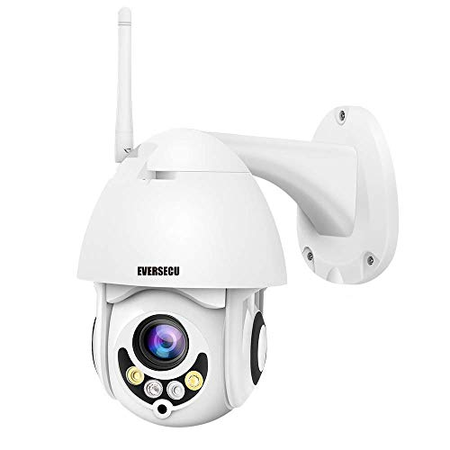 PTZ WiFi IP Camera 1080P HD H.265/H.264 Wireless Waterproof CCTV Security Dome Camera with 4mm F1.2 CS Lens 355° Pan/ 90° Tilt, IR-Cut Night Vision, Motion Detection, Two Way Audio
