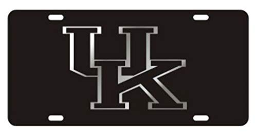 Kentucky Wildcats Laser Cut Inlaid Acrylic Mirrored License Plate Black on Black