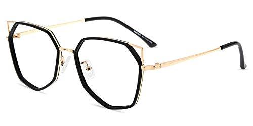 Firmoo Blaulichtfilter Brille ohne Sehstärke Damen Katzenaugen Brille, Anti Blaulicht Computer Brille Arbeitsplatz Schutzbrille Anti Kopfschmerzen Blendfrei, Cateye Brillefassung Leichtgewicht