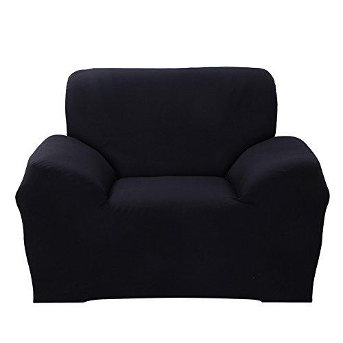 ele ELEOPTION Sofa Überwürfe Sofabezug Stretch elastische Sofahusse Sofa Abdeckung in Verschiedene Größe und Farbe Herstellergröße 95-140cm (Schwarz, 1 Sitzer für Sofalänge 90-130cm)
