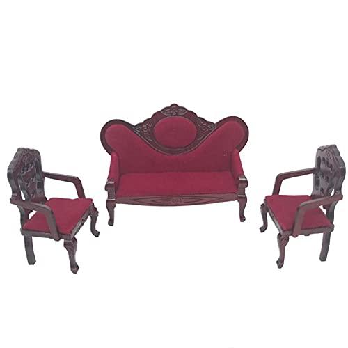 Yiifunglong Casa de muñecas 3 unids/set 1/12 casa de muñecas sofá sillón de madera modelo miniatura funiture accesorio