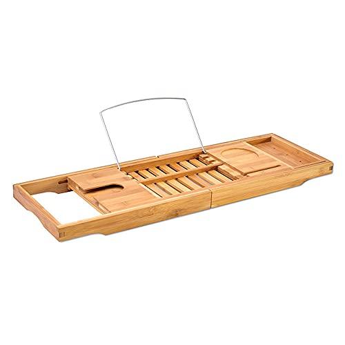 Vassoio per vasca da bagno in bambù, multifunzione, allungabile e multifunzione, con supporto per bicchieri di vino, portasapone e porta iPad