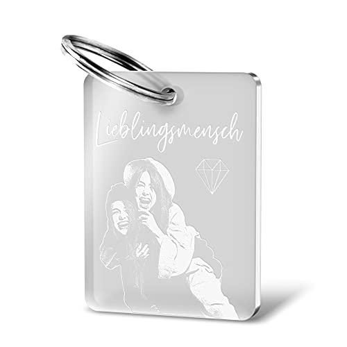 CHRISCK design Schlüsselanhänger aus Acrylglas mit Fotogravur Dog Tag Gravur Partner (Anhänger...