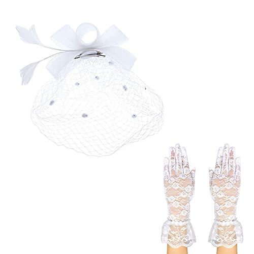 Gorra Bowknot Plumes diadema de malla guantes cortos de encaje para cctel t