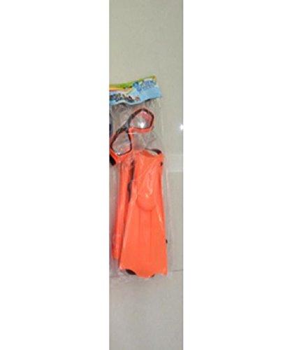 schnorchelset + aletas––Set de buceo buceo máscara y snorkel para niños en color naranja