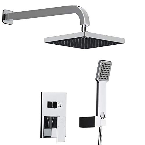 Crw Shower System Rainfall Shower Faucet Head Set With Valve Chrome 8 Rain Shower Head Wall Mounted For Bathroom Contain Rough In Valve Body And Trim Buy Online In Solomon Islands At Solomon Desertcart Com