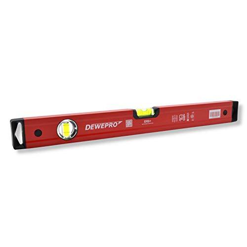 DEWEPRO® Profi Wasserwaage Aluminium - rot - Länge: 200cm 2m - Messtoleranz: 0,5mm/m