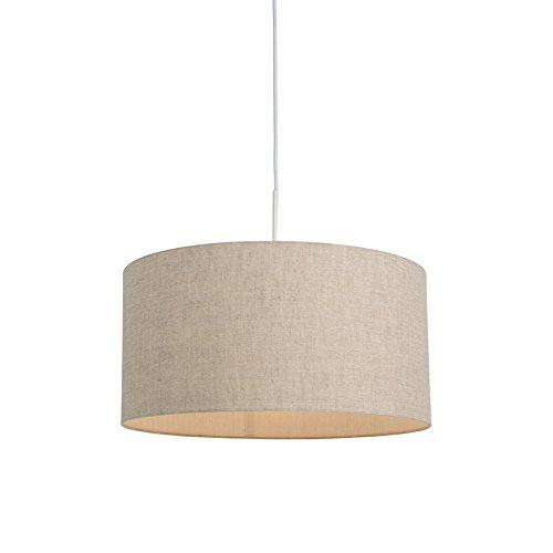 QAZQA rústico Lámpara colgante rústica blanca pantalla beige 50cm - COMBI 1...
